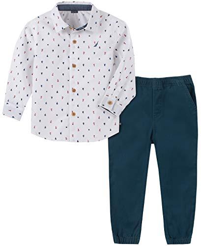 Nautica - Conjunto de 2 Pantalones de Camisa para bebé, Blanco (White Print), 12 Meses