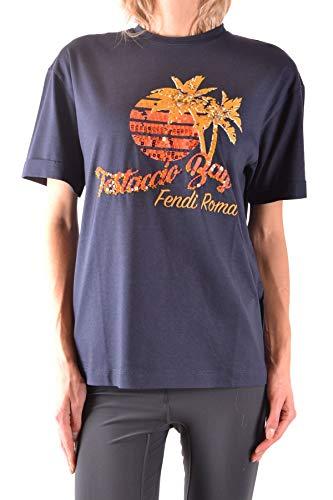 Luxury Fashion | Fendi Dames MCBI36168 Donkerblauw Katoen T-shirts | Seizoen Outlet