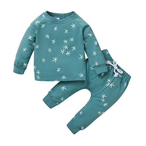 Baby Kinder Baumwolle Pyjama 2Pcs Pjs Sets Sterne Drucken Babykleidung Set Baby Jungen Mädchen Einfarbig Kleidung Schlafanzug Langarmshirt Sweatshirt Top + Hose Neugeborene Weiche Babyset