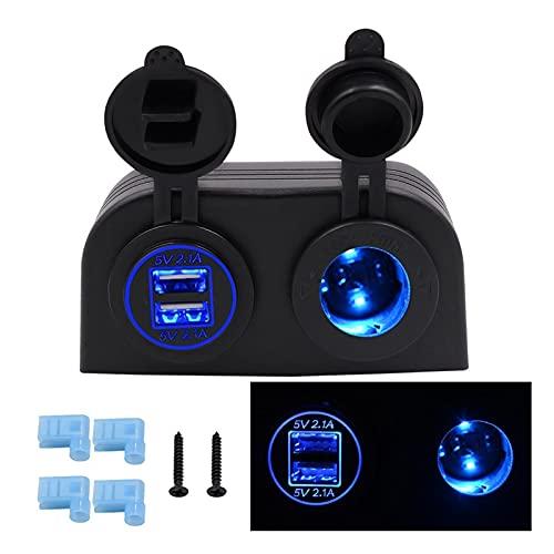 RJJX DIY Universal Impermeable 4.2A Cargador USB Dual Cigarette Encendedor Dos Agujero Tienda Tipo Panel para Motocicletas de Coche Barco Marine ATV RV (Color Name : Blue)