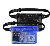 JUQIAO 2Pck PVC Touch Teléfono Móvil Bolsa Impermeable con Correa De Cintura Ajustable Estuche para Pesca En Efectivo Cámara Pasaporte Bolsa Impermeable