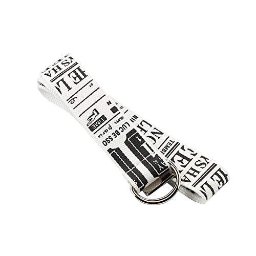 QUUY mannen vrouwen linnen riem D ring dubbele gesp riem gedrukt brief jeans riem band 130 cm