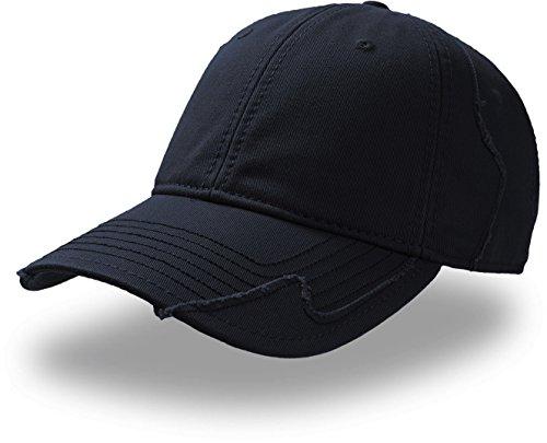 Gorra de béisbol de algodón chino, Vintage, acabado roto con Patchwork (Talla Única) azul marino Talla única