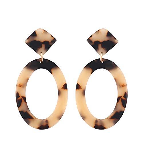 Ningz0l Oorbellen voor dames, oorsieraden, Europese en Amerikaanse onregelmatige geometrische oorbellen van acrylleopard vrouwelijk light leopard