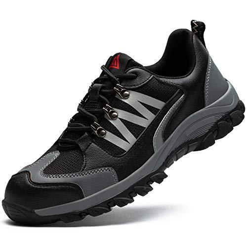 Ucayali Zapato de Seguridad Hombre Zapatilla de Trabajo con Punta de Acero Ligero Antideslizantes Transpirable Calzado Industrial Reflectivo(Gris, 42 EU)