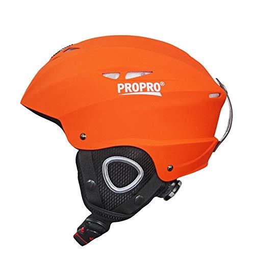 JHKGY Casco de esquí, casco deportivo, compatible con gafas, forro extraíble y almohadillas para los oídos, casco de snowboard, certificado ASTM CE, engranaje de recreación al aire libre, naranja, L