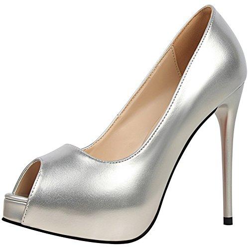 BIGTREE Peep Toe Damen Pumps Platform Pumps Lackleder Hochzeit High Heels Silber 38 EU