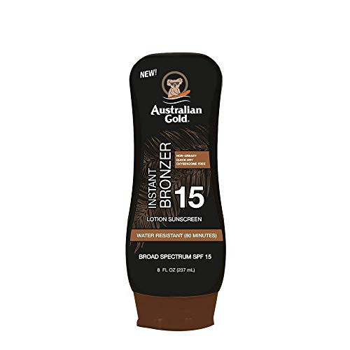 Australian Gold Sunscreen Lotion with Instant Bronzer SPF 15, 8 Ounce | Broad Spectrum | Water Resistant | Non-Greasy | Oxybenzone Free | Cruelty Free