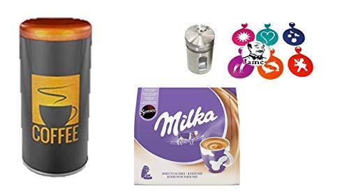 Premium Paddose für 18 Kaffeepads, Dose, Pad, Senseo Milka Kakao Pads, dazu Schokostreuer aus Edelstahl für Kakao, Cappuccino Schablonen 6 Stück