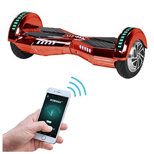 Robway W2 Hoverboard - Das Original - Samsung Marken Akku - Self Balance - 3 Farben - Bluetooth - 2 x 350 Watt Motor - 8 Zoll Reifen (Rot Chrom)