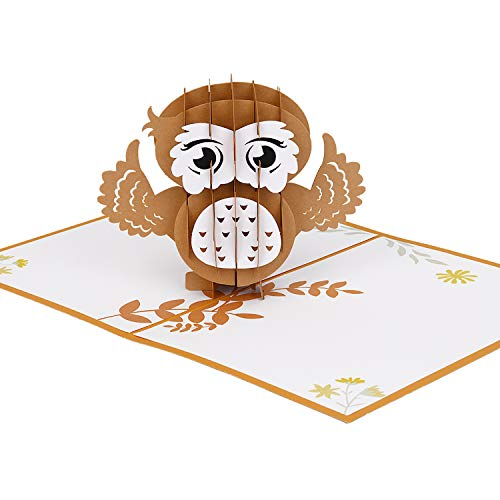 Lulonpon Owl Pop up Card, Animal Pop Up Card, 3D Greeting Card, 3D Cat Card, Great For Mother's Day Christmas Party Birthday Graduation Anniversary Thanksgiving Father's day Valentine's Day Baby Shower.