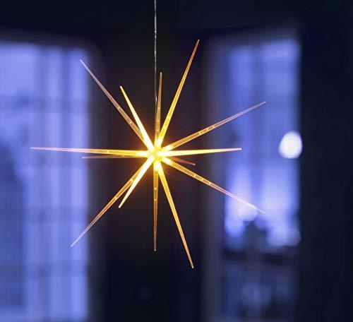 LED Sternleuchte | Acryl-Optik | 14 LED | warm-weiß oder mit Farbwechsel | 6 Stunden Timer | batteriebetrieben | mit Aufhängevorrichtung | moderner 3D Leuchtstern – Weihnachtsstern (warm-weiß)