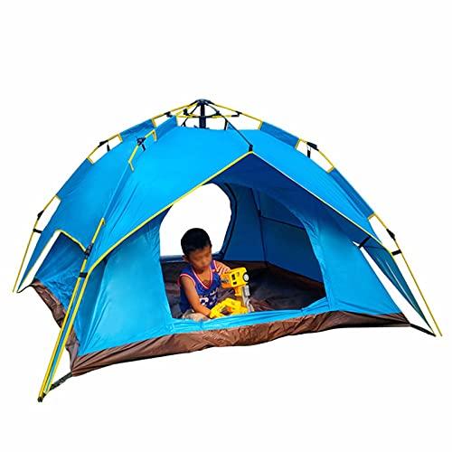 ZHHL Carpa para Acampar Al Aire Libre a Prueba De Lluvia De Doble Capa, Conducción a Velocidad Automática Completa para 3-4 Personas, Carpa para Acampar para Salidas Familiares, Adecuada para Playa