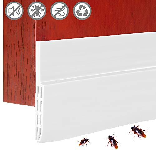 Strategy_JP ドアドラフトストッパー 隙間テープ ドア下部シールテープ 100CM ゴム製 防風 ゴキブリ対策 防音防虫 冷気遮断 断熱シートサッシシールテープ ドア 窓 玄関下 自己接着性スイープ (ホワイト)