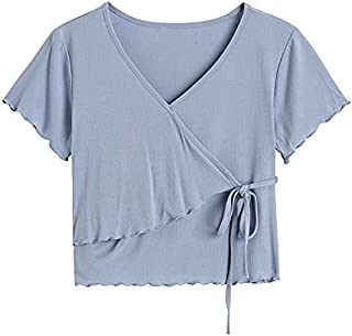 Wxcgbdx Womens T Shirts, Women's V-Neck Lace Short Blouse Summer Fashion Slim Short-Sleeved Casual Solid Color (Color : Blue)