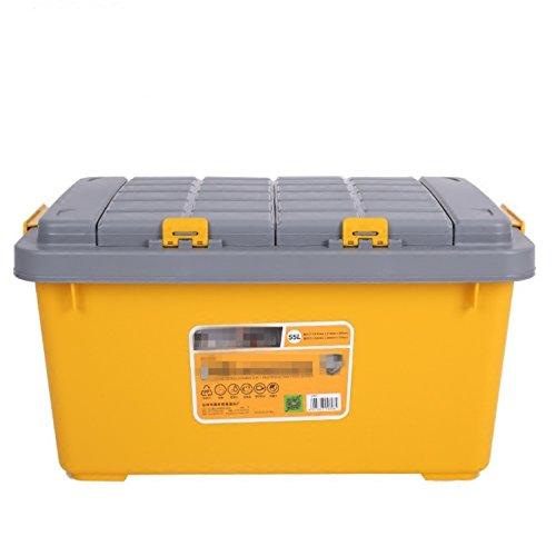 ZGBZZ Boîte de voiture de coffre épaissie voiture, boîte de rangement de voiture, boîte utilitaire, double boîte de rangement en plastique, boîte de rangement, boîte de pêche, boîte de pêche, jaune, 55L