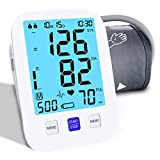 ALPHAGOMED Blood Pressure Monitor Upper Arm Accurate Blood Pressure Monitor Adjustable BP Cuff Automatic Digital Machine for Home Use,2x500 Memory,Large Backlit Display-Include Batteries Carrying Case