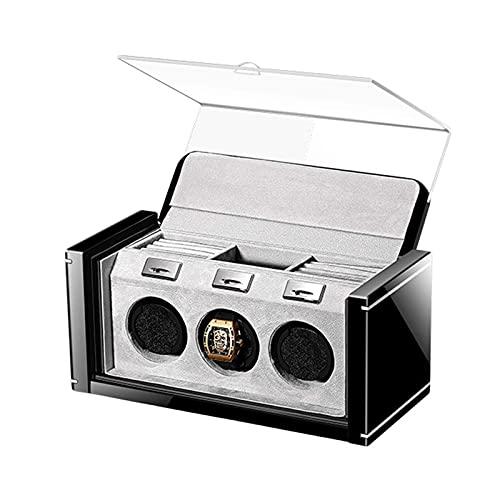NC Caja enrolladora de Reloj para 3 Relojes automáticos Anillo de joyería Caja de Almacenamiento de Relojes Motor silencioso Adaptador de CA Alimentado 5 Modos de rotación