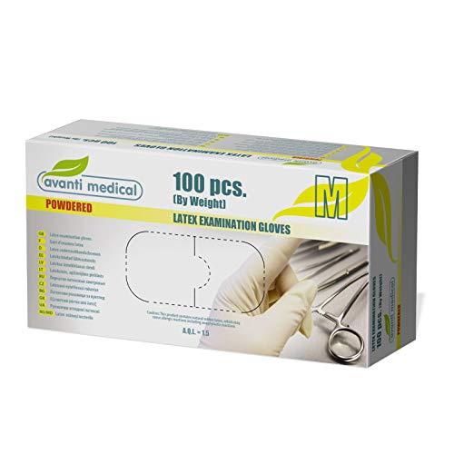 Avanti Medical Latexhandschuhe – 100 Stück, Größe M, für medizinische Untersuchungen, zum Reinigen, für Küche und Lebensmittel, beidhändig, mit Puder