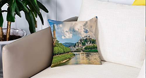 Pillowcase,Cuscini da Letto,Paesaggio urbano europeo, Stampa storica Terra di Salisburgo con cielo nuvoloso e fiume in AustrCuscini Per Copricuscini Divano Caso Federa Home Decorativi 45x45 Cm