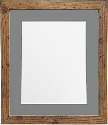 Frames By Post H7-fotolijst met witte passe-partout, breedte 25 mm, wit Donkergrijze houder 30 x 20 Inch Image Size A2 Rustic Oak