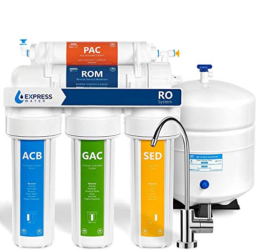 Express Water Reverse Osmosis Water Filtration System – 5 Stage RO Water Filter System with Faucet and Tank – Under Sink Water Filter – 50 GPD