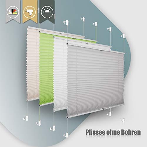 Plissee ohne Bohren klemmfix Jalousie Sonnenschutz Easyfix Faltrollo Lichtdurchlässig Rollo für Fenster Tür Hellgrau 85x130cm(BXH)