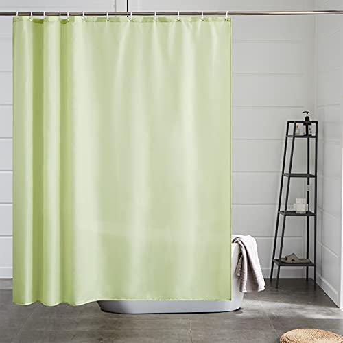 Furlinic Duschvorhang 180x180, Textiler Badvorhang aus Polyester Stoff schimmelresistent wasserabweisend Waschbar für Badewanne und Dusch Senfgrün mit 12 Duschvorhangringe.