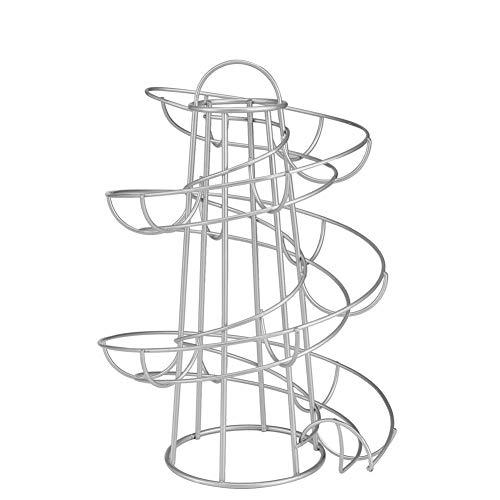 Delisouls Huevo Pantalla Estantería, Soporte Moderno Spiraling Dispensador Estantería Almacenaje, Metal Guardar Espacio Huevo Skelter Dispensador Estante para Cocina - Plateado