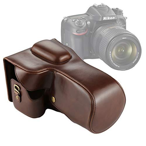 FENSHI Bolso de Cuero de la PU de la cámara de Cuerpo Completo for Nikon D7200 / D7100 / D7000 (Lente 18-200/18-140 mm) Portátil (Color : Coffee)