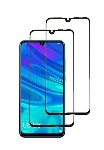 TECHKUN 2 Pezzi ,Vetro Temperato per Huawei P Smart 2019/Honor 10 Lite,Pellicola Protettiva Huawei P Smart 2019 Protezione Schermo Copertura Completa 6,21 Pollici-Nero