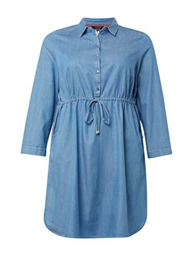 TOM TAILOR MY TRUE ME Damen Größen-Jeanskleid Kleid, Blau (Mid Stone Bright Blu 10152), 48