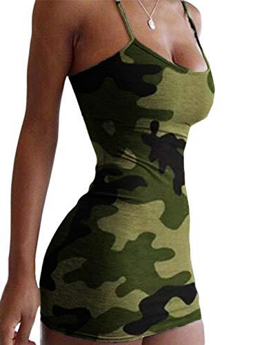CORAFRITZ Mini vestido de verano sexy camuflaje bodycon vestidos cómodos y delgados para mujer