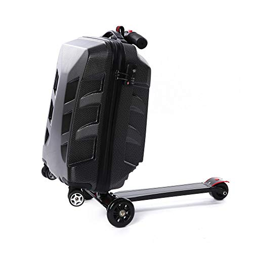 21' Pedal Suitcase Rolling Luggage cart Folding Scooter Hard case Trolley Suitcase Trolley, Kick-Board, Suitcase and Trolley (Black)