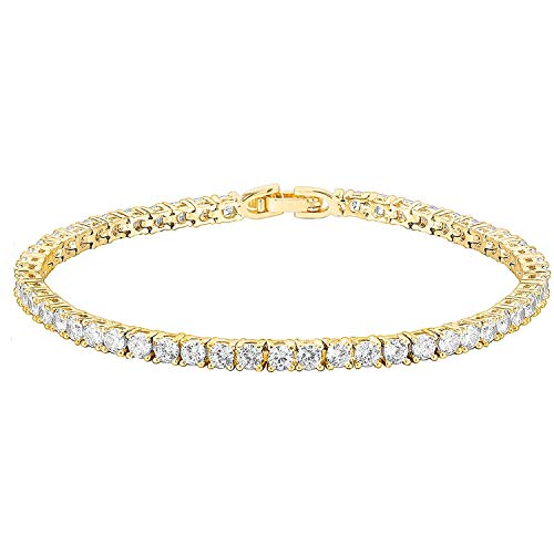 PAVOI 14K Gold Plated Cubic Zirconia Classic Tennis Bracelet | Yellow Gold Bracelets for Women | 7.5 Inches