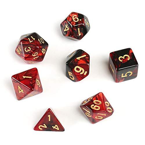 GWHOLE 7 Pezzi Dadi Poliedrici per Giochi di Ruolo con Giochi da Tavolo Dungeons And Dragons con Sacchetto Nero, Rosso Nero