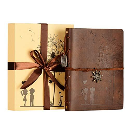 ZEEYUAN Álbum Fotos, DIY Scrapbook Vintage Cuero Álbum Scrapbooking Boda Libro de Visitas Familia Álbum de Fotos Especial Navidad de San Valentín Regalos de Cumpleaños,Ven con Caja de Regalo(café)
