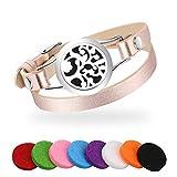 Achort Bracelet Aromatique Diffuseurs d'huiles Essentielles Bracelet Bijoux en Cuir pour Femmes, avec 8 Coussinets Lavables