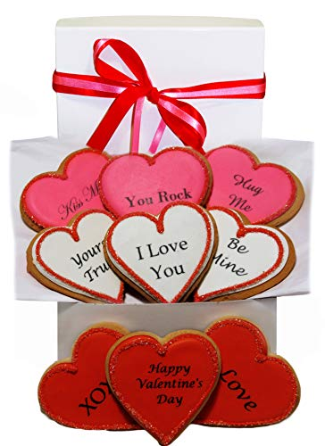 Valentine's Day Gift Basket 9 Romantic Love Sayings Decorated Cookie Boy, Girl, Friend, Student,...
