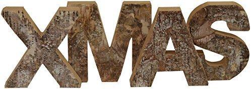 CHICCIE XMAS Schriftzug Baumrindenoptik Birke - 50cm Natur Weihnachten Deko