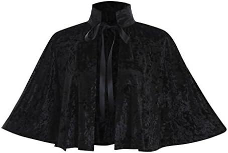 COUCOU Age Velvet Collar Shawl Short Cloak Cape Women Dress Accessories Black One Size product image