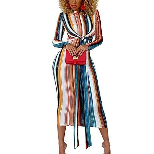 Icegrape Vestido Largo de Manga Larga con Rayas de arcoíris para Mujer, Vestido de Fiesta Elegante con Encaje, 2XL