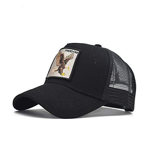 Gorra Animal Embroidered Cómoda Tela Elástica Gorra De Béisbol Malla Transpirable Gorra Velcro Ajustable Gorros Casuales Gorras De Béisbol Hip Hop Caza Pesca Águila-Negro