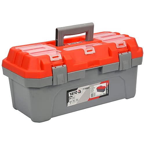 Cassetta attrezzi YATO 420 x 210 x 195 mm | Cassetta porta utensili, cassetta attrezzi vuota in plastica di qualità, Il rivestimento ha scomparti aggiuntivi chiusi con alette trasparenti.