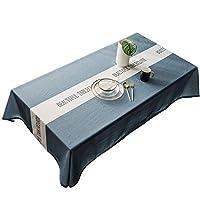 机の食事用テーブルクロス北欧INSスタイル防水テーブルクロス長方形防塵テーブルカバー、夏&アウトドアピクニック 家の装飾 (色 : ブルー, サイズ : 135x300cm)