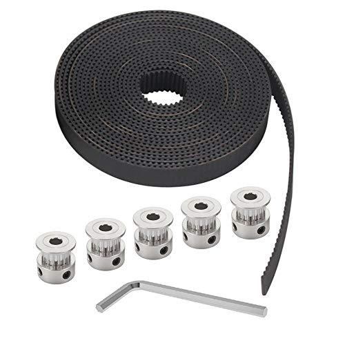 Anyasen zahnriemen 3d drucker gt2 zahnriemen 6mm x 2m 5 Stück gt2 pulley Riemenscheibe Rad Umlenkrolle 16 Zähne mit Inbusschlüssel für 3D Drucker