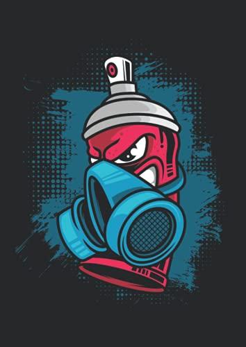 Notizbuch A4 dotted, gepunktet, punktiert mit Softcover Design: Spraydose Atemschutzmaske Lackierer Kunst Graffiti Künstler: 120 dotted (Punktgitter) DIN A4 Seiten