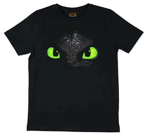 DreamWorks Dragons Kinder T-Shirt Ohnezahn Toothless (128-134, schwarz)