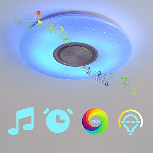 NEWSEE LED-Deckenleuchte mit Bluetooth-Lautsprecher Kinderzimmer Musik Smart APP Dimmen RGB Farbwechsel natürliches Licht 24W mit Fernbedienung