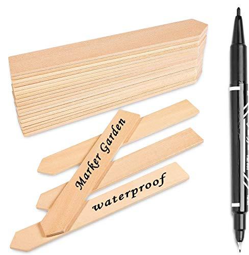 Whaline 50 STK Pflanzenschilder Holz Pflanzenstecker, und 1stück Marker Pen, Stecketiketten Holz für Pflanzen, Etiketten, Garten, 15CM Lange